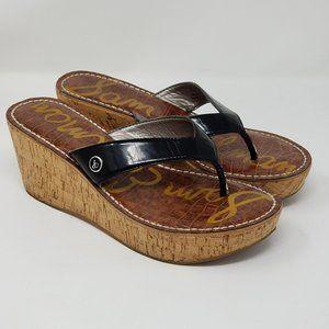 Sam Edalman Romy Cork Wedge T-Strap Sandals